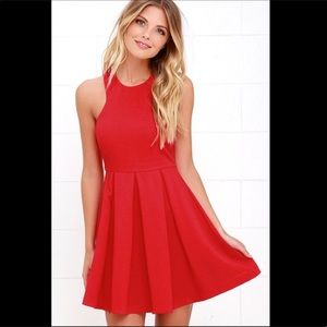 Lulu's Red Pleated High Neck Fit And Flare Dress